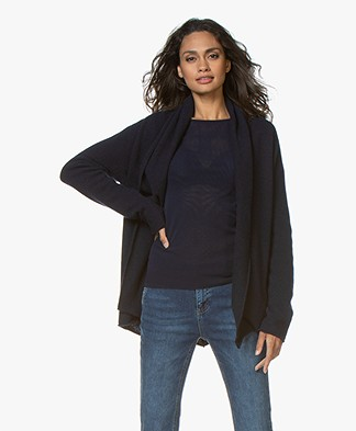 Majestic Filatures Cashmere Cardigan with Shawl Collar - Marine