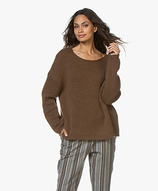 Sibin/Linnebjerg Nova Alpaca Blend Oversized Sweater - Brown