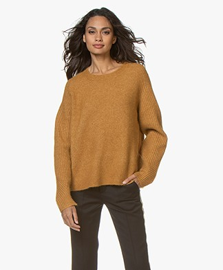 By Malene Birger Ana Ribbed Sleeve Alpaca Blend Sweater - Tobacco