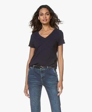 American Vintage Sonoma Slub Jersey T-shirt - Donkerblauw