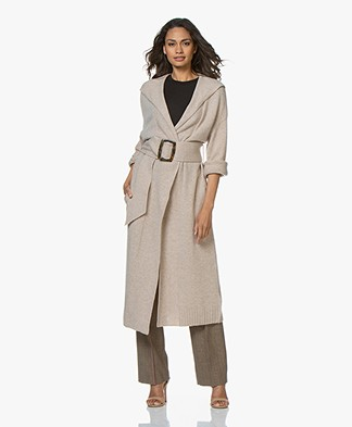 ba&sh Chalie Long Hooded Cardigan with Cashmere - Beige