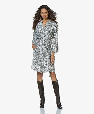 Repeat Pure Silk Shirt Dress with Snake Print - Mud