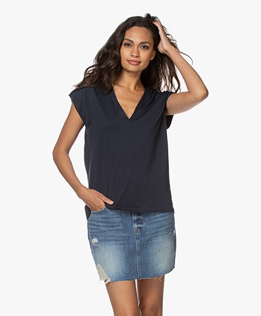 FRAME Le Mid Rise V-neck T-shirt - Navy