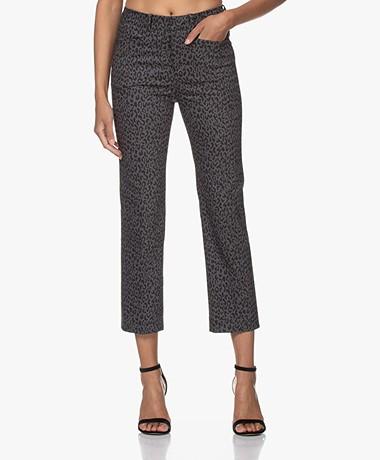 Drykorn Basket Luipaardprint Stretch Pantalon - Grijs/Zwart