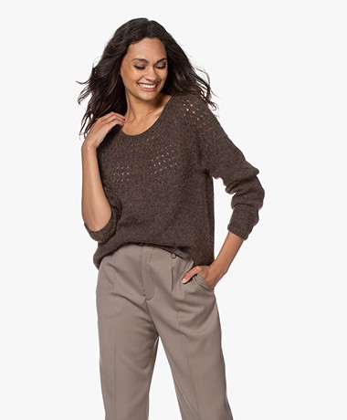 Sibin/Linnebjerg Nala Ajour Mohair Blend Sweater - Brown Melange