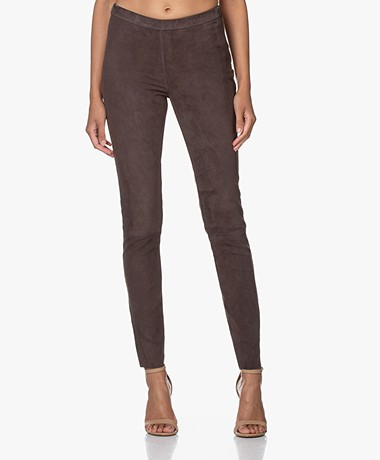 LaSalle Suede Slim-fit Broek - Coffee