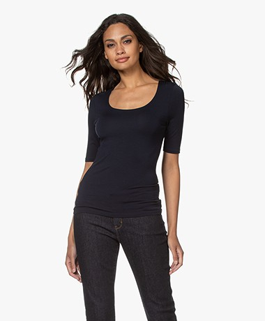 no man's land Viscose Half Sleeve T-shirt - Dark Sapphire