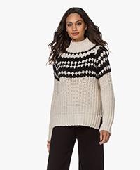 Pomandère Intarsia Mohair Blend Turtleneck Sweater - Cream/Black