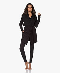 Skin Double Layer Jersey Wrap Robe - Black