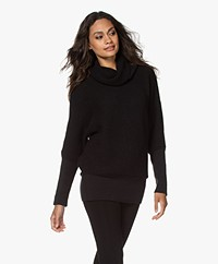 Sibin/Linnebjerg Tut Pullover with Draped Cowl - Black