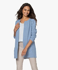 Sibin/Linnebjerg Mary Short Cardigan in Merino Blend - Light Denim Blue