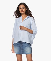 BY-BAR Norel Katoenen Oversized Blouse - Lichtblauw