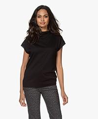Drykorn Namira Tencel Mix Mock Neck T-shirt - Black