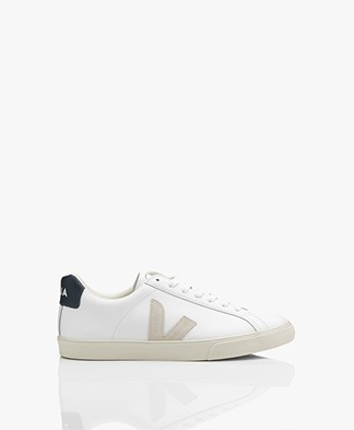 VEJA Esplar Low Logo Leren Sneakers - Wit/Natural/Nautico