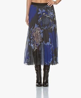 Kyra & Ko Alara Plisse Midi-skirt with Floral Print - Grey