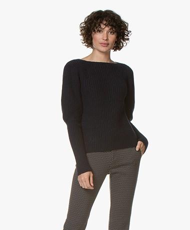Majestic Filatures Chunky Knit Merino Blend Sweater - Marine