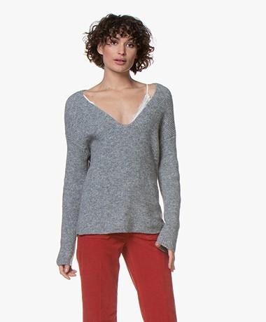 Drykorn Linna V-neck Sweater - Grey Melange