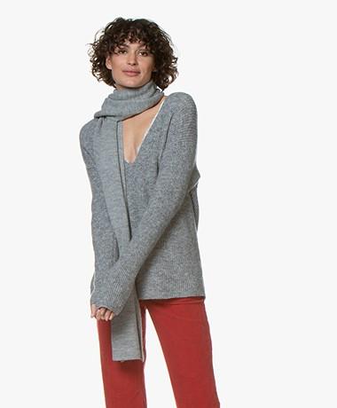 Alpaca Loca Uni Knitted Wool Blend Scarf - Grey