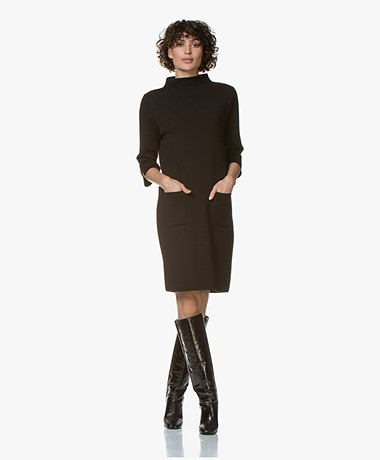 LaSalle Milano Knitted Turtleneck Dress - Black