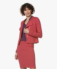 Kyra & Ko Flyn Jacquard Jersey Blazer Jacket - Red
