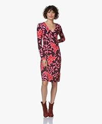 Kyra & Ko Luca Jersey Dress with Leaf Print - Plum