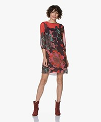 Kyra & Ko Fimo Chiffon Tunic Dress with Floral Print - Plum