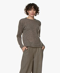 Woman by Earn May Mohair Blend Sweater - Greige/Brown