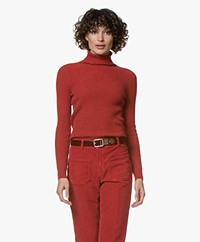 Repeat Pure Cashmere Rib Turtleneck Pullover - Spice