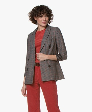 MKT Studio Vincenzo Plaid Double Breasted Blazer - Multi