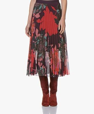 Kyra & Ko Alara Plisse Midi-skirt with Floral Print - Plum