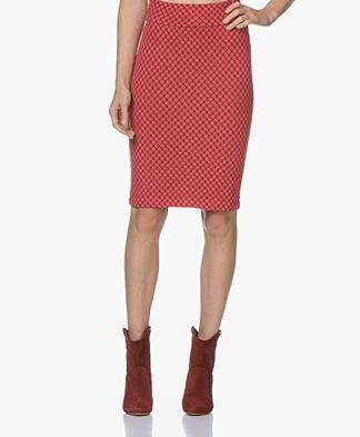 Kyra & Ko Vieve Jacquard Jersey Pencil Skirt - Red