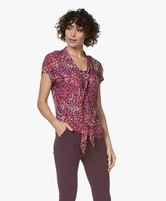 Kyra & Ko Parel Floral Tie Neck Blouse - Plum