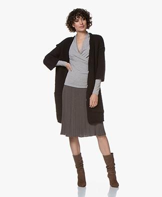 American Vintage Boolder Vest met Driekwartmouwen - Zwart