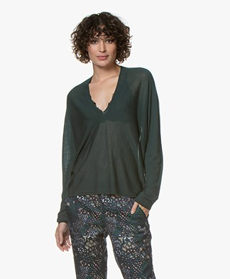 Drykorn Simony Fine Knit V-neck Sweater - Dark Green