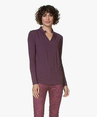 Kyra & Ko Elaine Viscose Slit Neck Long Sleeve - Plum