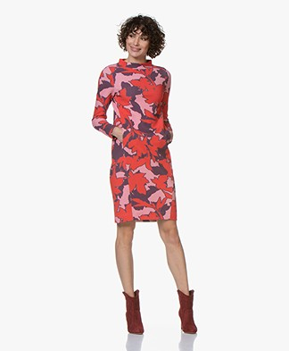 Kyra & Ko Hind Textured Jersey Dress with Leaves Print - Red
