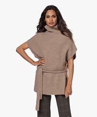 Josephine & Co Tooske Rib Knitted Short Sleeve Sweater - Khaki