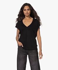 IRO Poly Modalmix V-hals T-shirt - Zwart