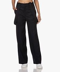 ba&sh Bao Viscose and Wool Blend Pants - Navy
