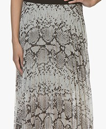 LaSalle Chiffon Pleated Skirt with Print - Greige