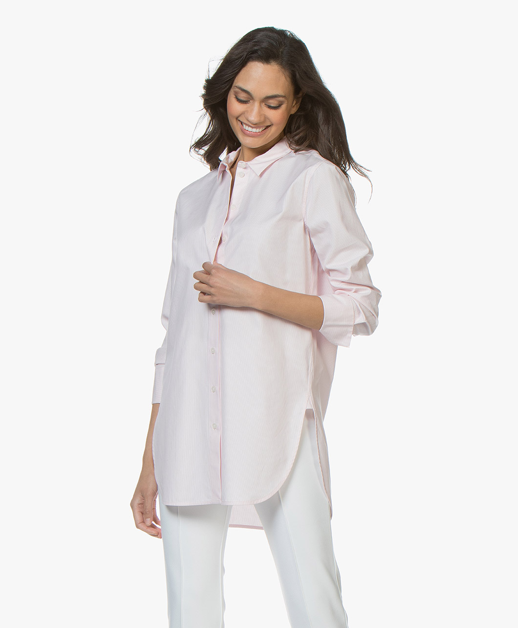 Afbeelding van By Malene Birger Blouse Morning Glory Likarah Krijstreep