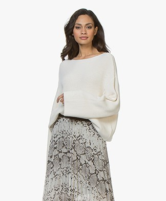 Drykorn Laureen Boatneck Sweater in Cotton Blend - Ecru