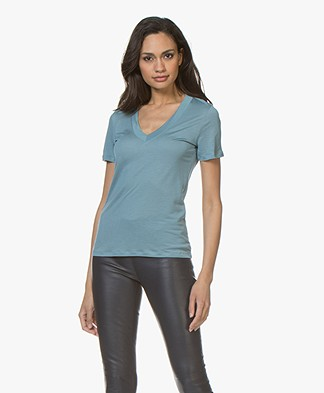 Filippa K Tencel Deep V-neck Tee - Kingfisher