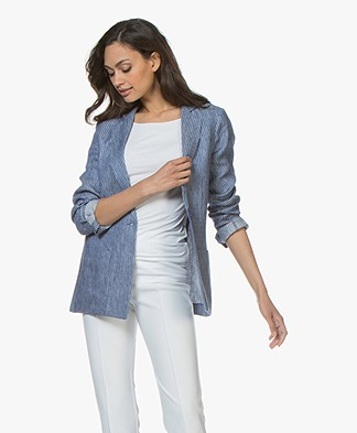 Majestic Filatures Striped Linen Chambray Blazer - Positano Blue
