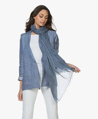 Drykorn Riker Viscosemix Sjaal - Blauw