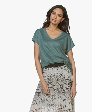 Majestic Filatures Linnen V-hals T-shirt - Toscaans Groen