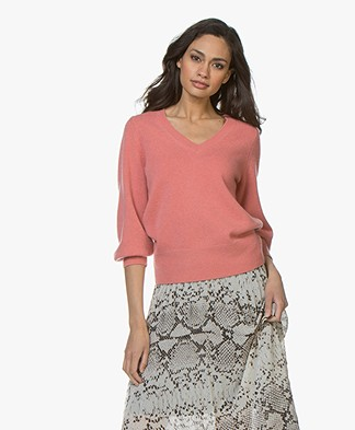 Repeat Cashmere V-Hals Trui - Blush