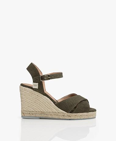 Castañer Blaudell Recycled Espadrille Wedge Sandals - Verde Musgo