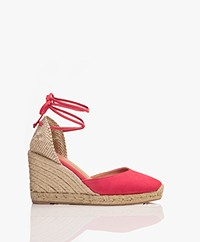Castaner Carina Suede Leather Wedge Espadrilles - Rosa Lipstick