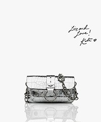 Zadig & Voltaire Kate Wallet Embossed Cross-body Bag/Clutch - Silver